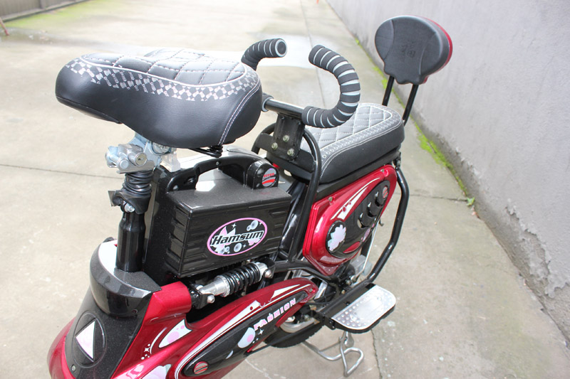 electric bike SY-JML_Details_rear passenger seat with backrest and handle bar